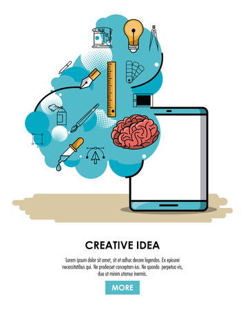 Be creative poster with information cartoons vector illustration graphic design Illustration