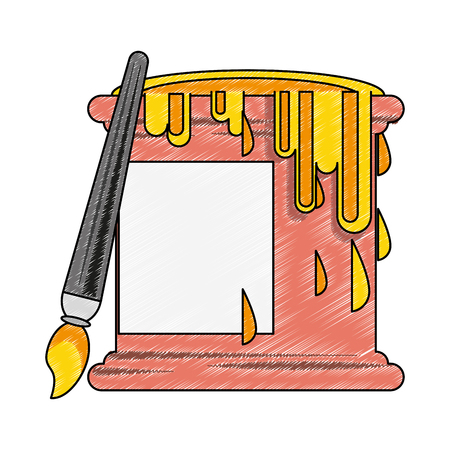 Paint bucket and brush vector illustration graphic design Vector Illustration