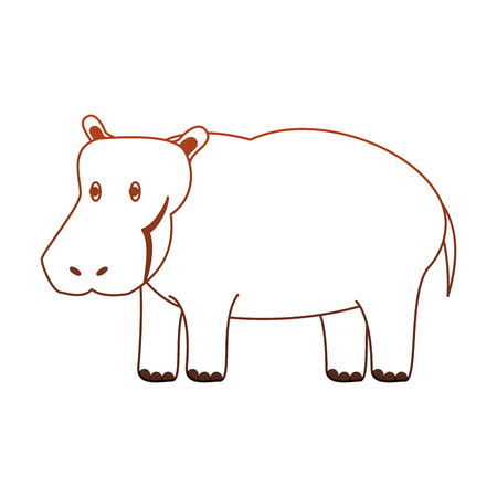 Hippo wild animal vector illustration graphic design