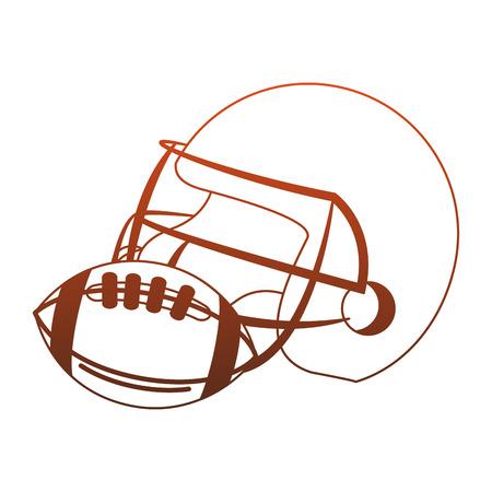 American football helmet and ball vector illustration graphic design Ilustrace