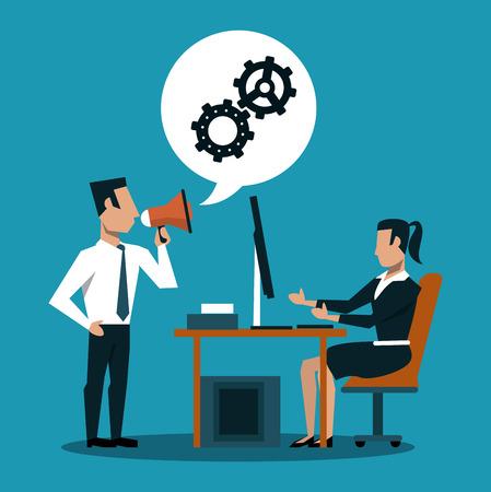 Businessman holding bullhorn and businesswoman working on computer vector illustration graphic design Illustration