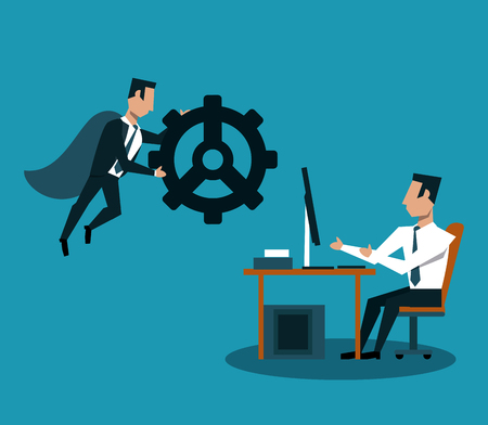 Businessman flying and holding gear and man working on computer vector illustration graphic design Illustration