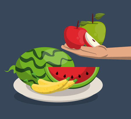 Hand with set of fruits cartoons vector illustration graphic design