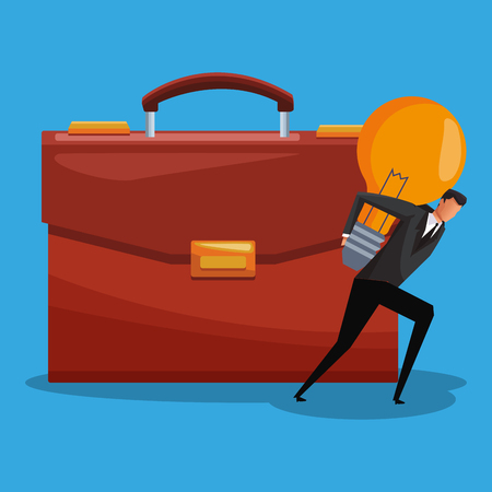 Businessman holding bulb light on back and briefcase vector illustration graphic design