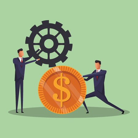Businessmens pushing big coin and gear vector illustration graphic design 일러스트