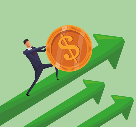 Businessman pushing coin on arrow up vector illustration graphic design