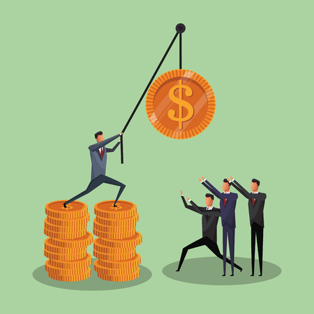 Businessmens pulling coin with rope vector illustration graphic design