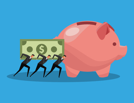 Businessmens holding and pushing money on back to piggy vector illustration graphic design