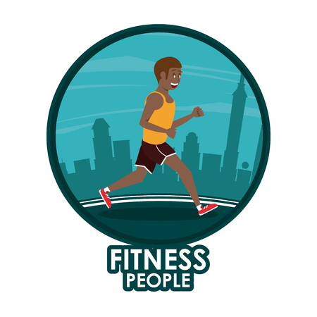 Fitness man running at city round icon cartoon vector illustration graphic design