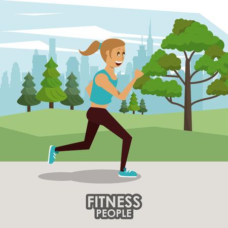 Fitness woman running at city park cartoons vector illustration graphic design
