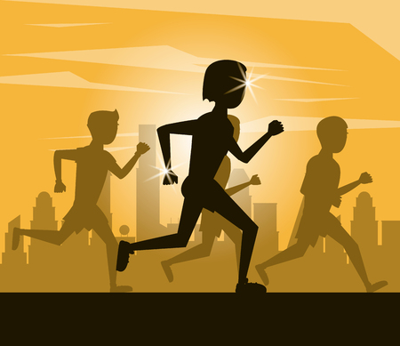Fitness woman running at city black silhouettes vector illustration graphic design