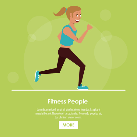 Fitness people running poster with information vector illustration graphic design