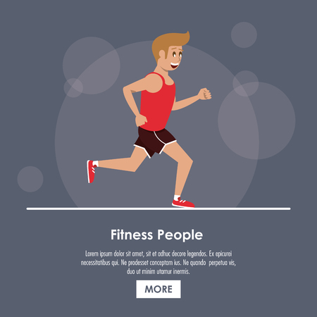 Fitness people running poster with information vector illustration graphic design Illustration