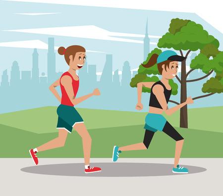 Fitness people marathon at city park cartoons vector illustration graphic design Vektorové ilustrace
