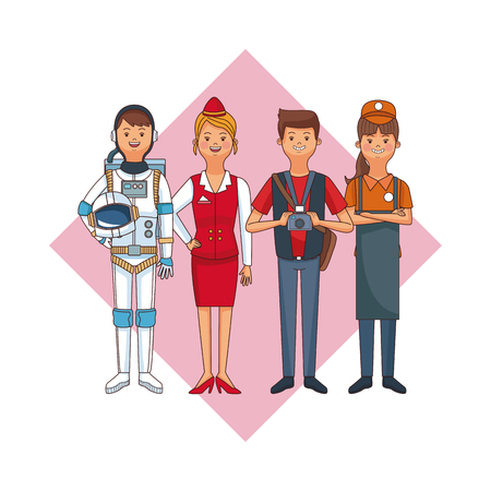 Set of work and people professions cartoons vector illustration graphic design