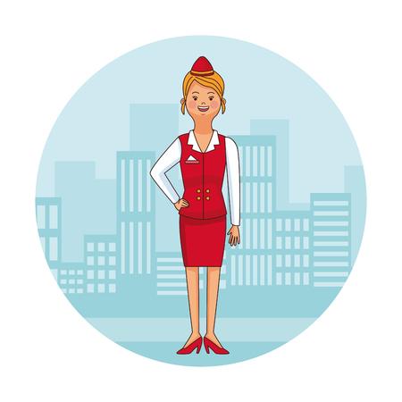 Stewardess at city round icon cartoon vector illustration graphic design