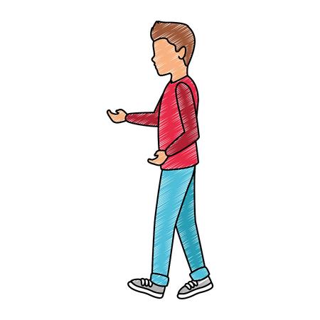 Young man walking vector illustration graphic design Illustration