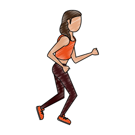 Fitness woman running vector illustration graphic design Stock Illustratie