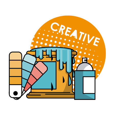Creative graphic design concept with cartoon elements and tools vector illustration
