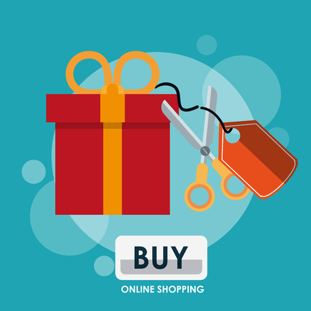 Online shopping and marketing giftbox and scissors with tag cartoons vector illustration graphic design Vectores