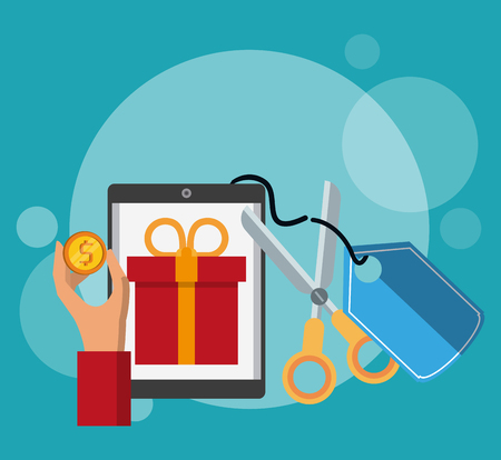 Online shopping from smartphone cartoons vector illustration graphic design