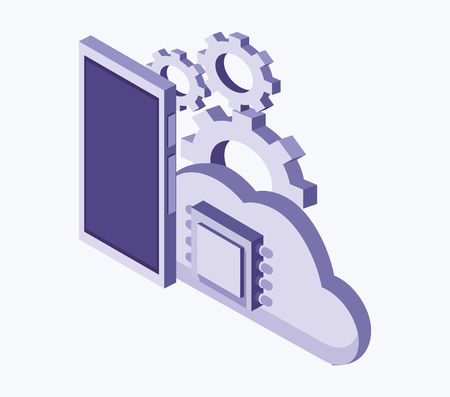 Data center technology devices and isometric elements vector illustration graphic design