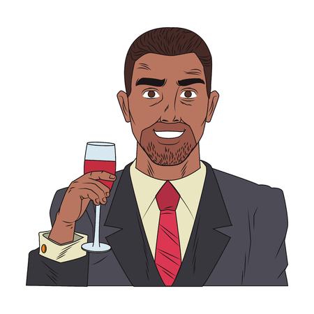 Businessman profile holding wine cup pop art cartoon vector illustration graphic design Illustration