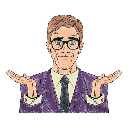 Businessman with hands open profile pop art cartoon vector illustration graphic design