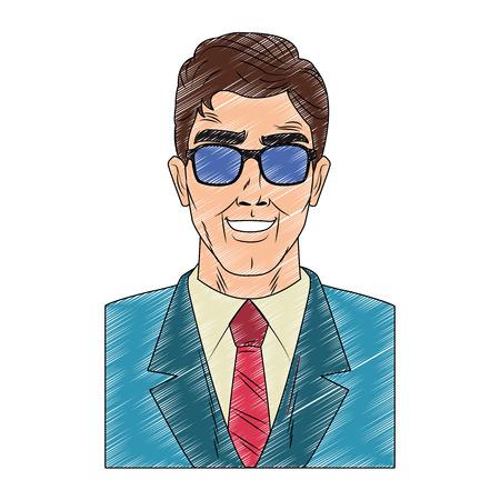 Businessman profile with sunglasses pop art cartoon vector illustration graphic design