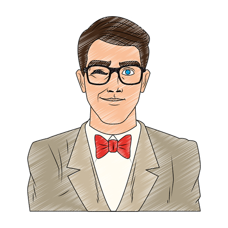 Groom with glasses pop art cartoon vector illustration graphic design