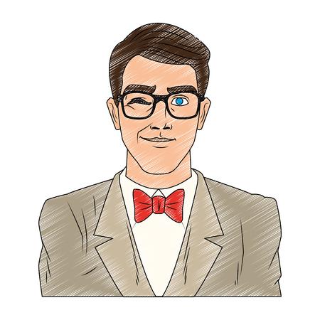 Groom with glasses pop art cartoon vector illustration graphic design