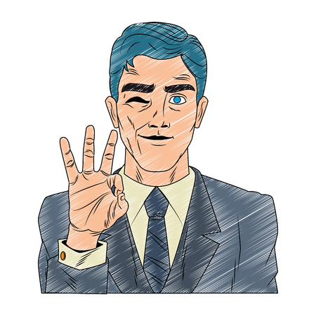Businessman profile with ok hand sign pop art cartoon vector illustration graphic design