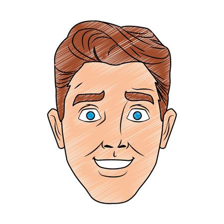 Man face pop art cartoon vector illustration graphic design