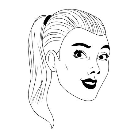 Woman face pop art cartoon vector illustration graphic design Vetores