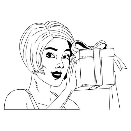 Woman holding giftbox pop art cartoon vector illustration graphic design