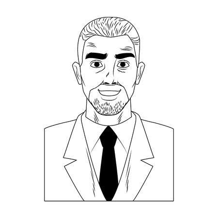 Businessman profile afro with beard pop art cartoon vector illustration graphic design