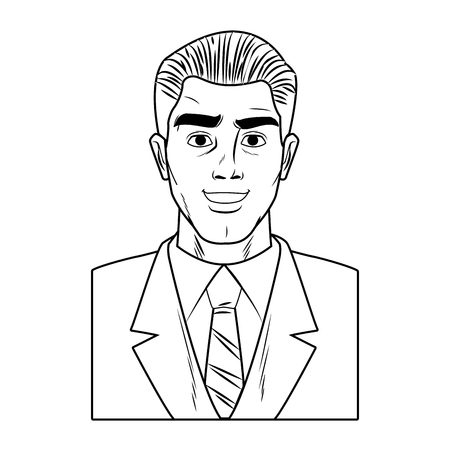 Businessman profile smiling pop art cartoon vector illustration graphic design Illustration