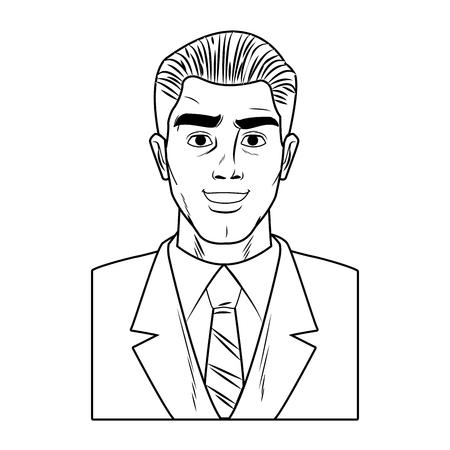Businessman profile smiling pop art cartoon vector illustration graphic design Illustration