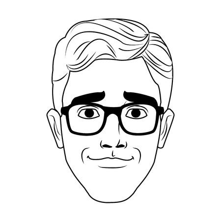 Man face with glasses pop art cartoon vector illustration graphic design