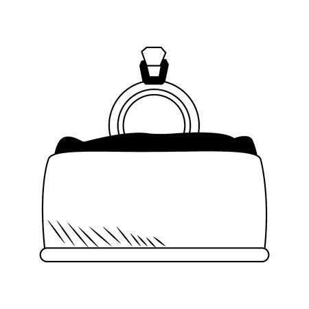 Wedding ring inside box vector illustration graphic design Illustration