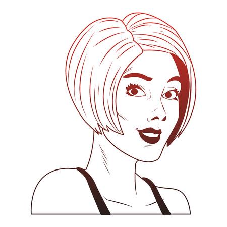 Frauenprofil Pop-Art-Cartoon-Vektorillustrationsgrafikdesign