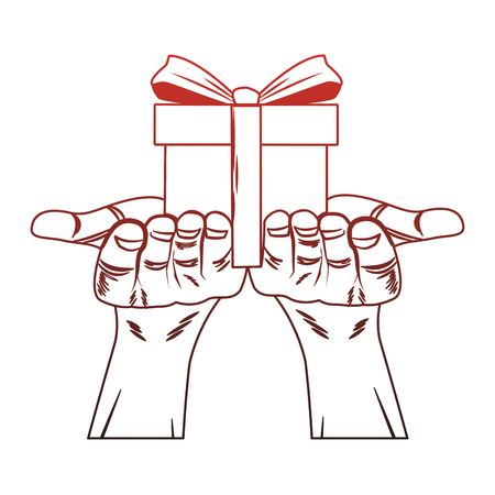 Hands holding giftbox pop art vector illustration graphic design