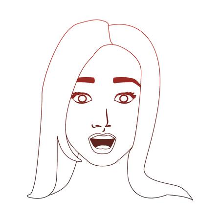 Woman face pop art cartoon vector illustration graphic design