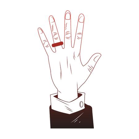 Male hand with wedding ring pop art vector illustration graphic design Illustration