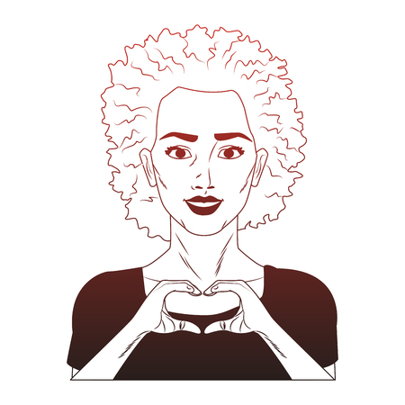 Woman afro with heart shaped hands sign pop art cartoon vector illustration graphic design