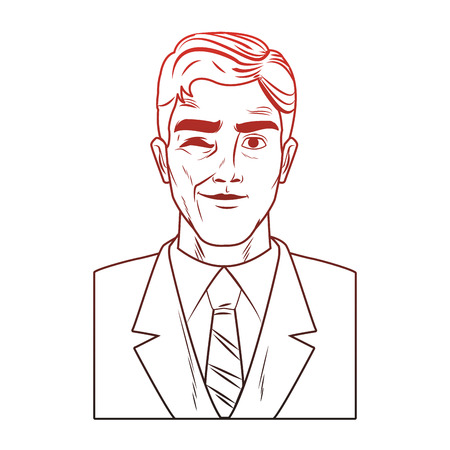 Businessman profile with winkeye pop art cartoon vector illustration graphic design icon
