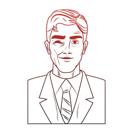 Businessman profile with winkeye pop art cartoon vector illustration graphic design icon