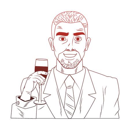 Businessman profile holding wine cup pop art cartoon vector illustration graphic design icon