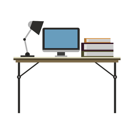 Office with computer and elements vector illustration graphic design Illustration