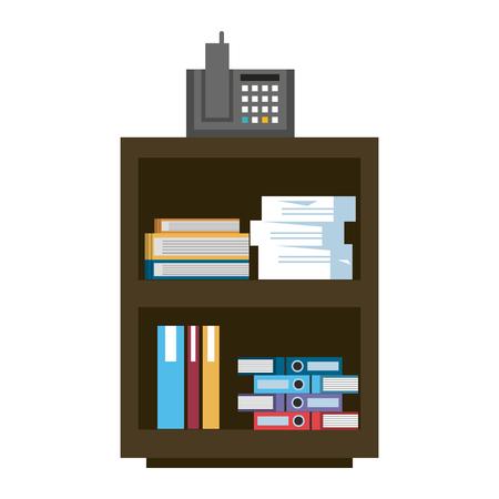 Armario de oficina con teléfono y carpetas dentro de diseño gráfico de ilustración vectorial